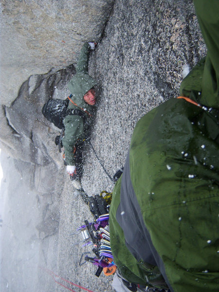 Rock Climbing Photo: Pitch 6. Some of that notorious Bugs weather. Matt...