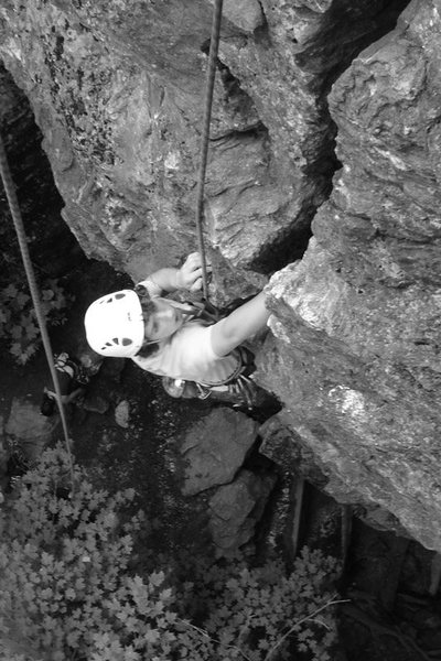 Rock Climbing Photo: Issac on 5.8 Crack by the Road...