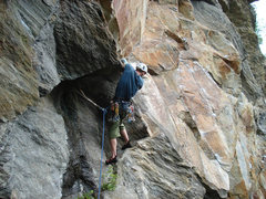 Rock Climbing Photo: the low crux roof that you must do to gain the mor...