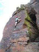 Rock Climbing Photo: Climbing through the thinnest part of the route.