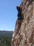 Rock Climbing Photo: Jodee on the thin upper moves of Medicine Man.