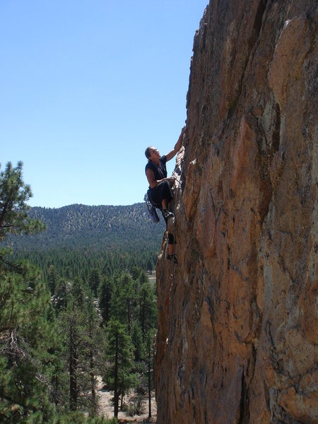 Jodee just past the crux of Thunderbird.  But it ain't over yet...
