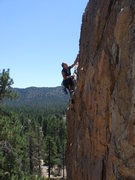Rock Climbing Photo: Jodee just past the crux of Thunderbird.  But it a...