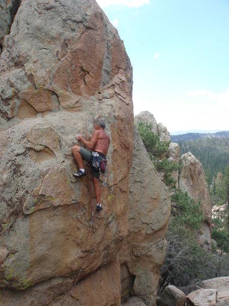 Rock Climbing Photo: Al finishing the crux of Smokin' the Rock.