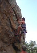 Rock Climbing Photo: Working the underclings - Mike starting up Powderh...