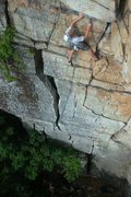 Rock Climbing Photo: Jeff Arliss approaching the crux.