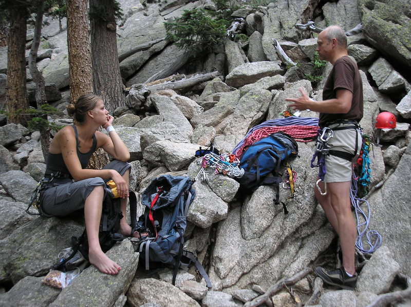 Rock Climbing Photo: Pre-climb pep talk...