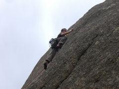 Rock Climbing Photo: Clipping bolts at the Woo