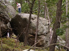 Rock Climbing Photo: Middle of steep face.  You can see the key crimper...