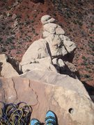 Rock Climbing Photo: Looking down from anchor on top of Otto's Route. W...