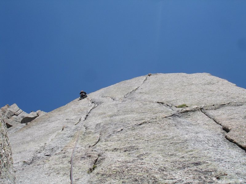 Rock Climbing Photo: Jonny climbing the 5.8 variation to South Buttress...