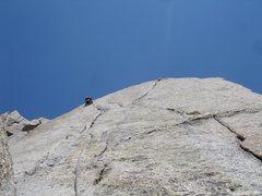 Rock Climbing Photo: Jonny climbing the 5.8 variation to South Buttress...