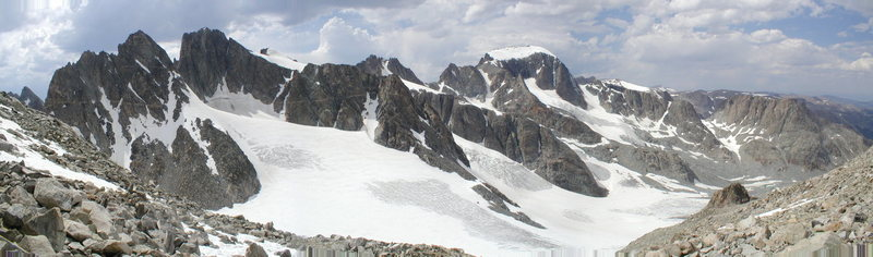 Rock Climbing Photo: Panorama of Gannett Peak from Dinwoody Pass (aka B...