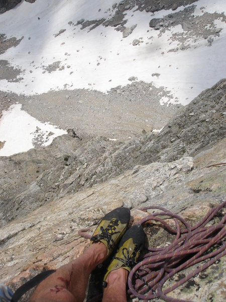 South Face of Cloudveil -- top of the crux pitch on Armed Robbery