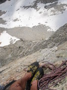 Rock Climbing Photo: South Face of Cloudveil -- top of the crux pitch o...