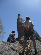 Rock Climbing Photo: Jeff leading the arête to rap rings on great rock...