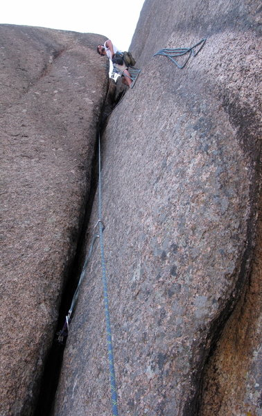 Rock Climbing Photo: We screwed up and belayed just after the crux of p...