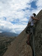 Rock Climbing Photo: Adam about to lead pitch 5, equalizing the 2 bolts...
