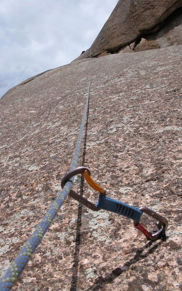 Rock Climbing Photo: The run out above the last bolt on P5.  Notice Ada...