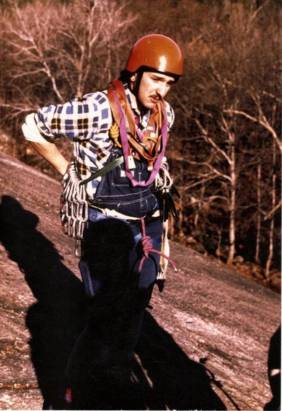 Mystery Climber from the 1970's about to attempt the Whitehorse Standard Route.Possible free climbing course from EMS if you recognize the climber.Sorry its been won .....