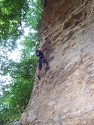 Rock Climbing Photo: Travis in the crux of Chomping the Bit.