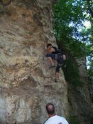 Rock Climbing Photo: Travis low on Bovine Direct.