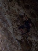 Rock Climbing Photo: Travis in the upper difficulties on the Bolt Route...