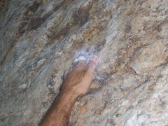 Rock Climbing Photo: The crux pocket of the Bolt Route.