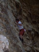 Rock Climbing Photo: Steve starting the crux sequence of Malaria.