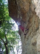 Rock Climbing Photo: Steve catching the first big move on Subtle Caress...