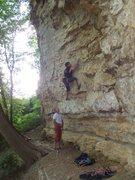 Rock Climbing Photo: Travis starting Subtle Caress.
