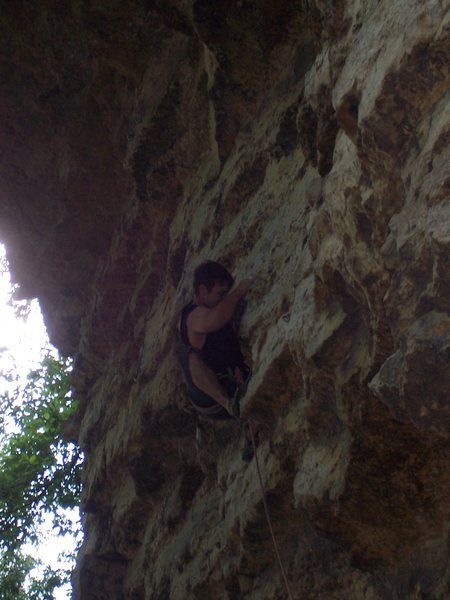 Rock Climbing Photo: Travis in the secret rest on Subtle Caress.