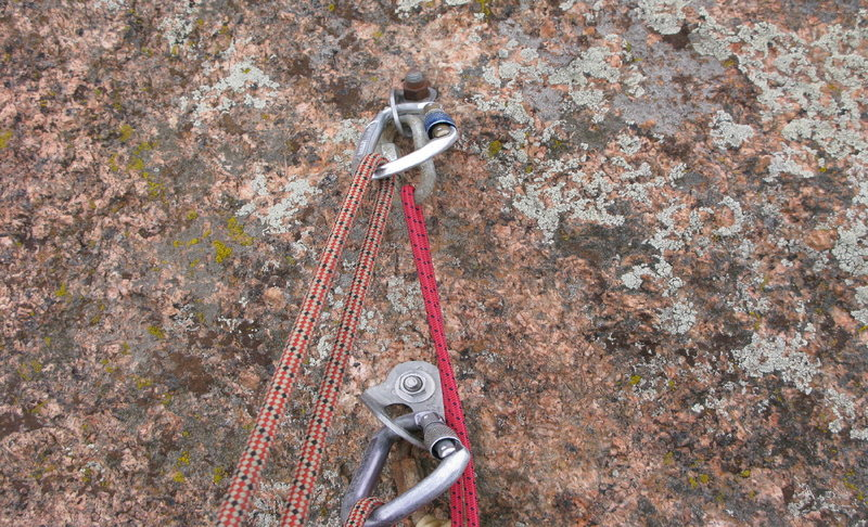 The bolts for the rap on the north summit. 1 SMC hanger, 1 ASCA hanger, good studs.