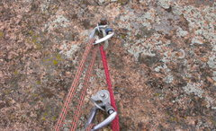 Rock Climbing Photo: The bolts for the rap on the north summit. 1 SMC h...