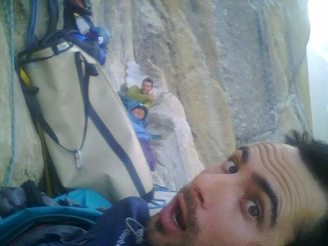 Rock Climbing Photo: long ledge with Matt Pickren and Dan Wright.