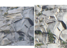 Right Photo...before June 2008 rockfall<br> Left Photo...After rockfall