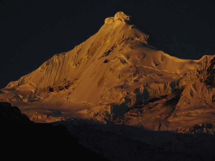 Tocllaraju at sunset from base camp.