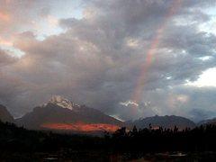Rock Climbing Photo: Churup and rainbow.