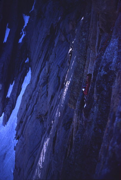 Rock Climbing Photo: Looking back across the fourth pitch at Frosty bel...