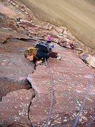 Rock Climbing Photo: Heather Selitrennikof cleaning gear, P1 of Bastill...