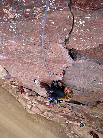 First pitch of Bastille Crack, Eldorado Canyon, CO
