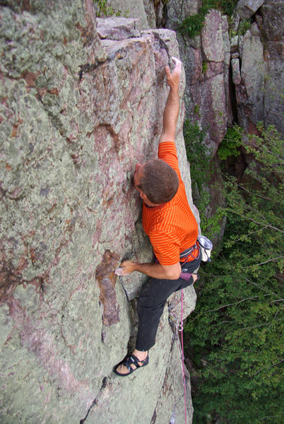 Son of a Great Chimney Direct. Last (crux) move.