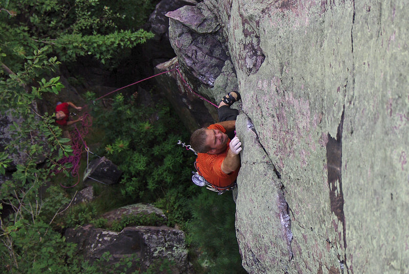 Rock Climbing Photo: Devils Lake. Lower crux of Son of a Great Chimney ...