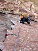 Rock Climbing Photo: Heather Selitrennikoff on Bastille Crack, CO.