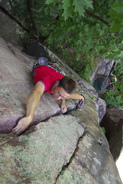 Rock Climbing Photo: Devils Lake. Henning Boldt jamming on Whipping Boy...