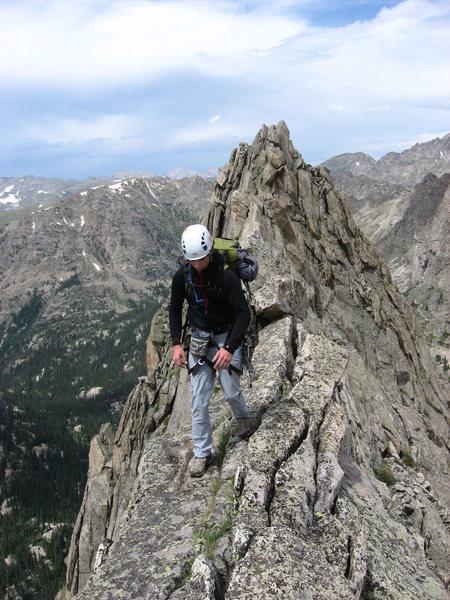 Rock Climbing Photo: Mark Griffin on Summit Ridge of Lone Eagle