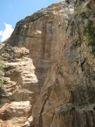 Rock Climbing Photo: The upper thin finger crack is visible in the top ...