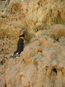 Rock Climbing Photo: My climbing shoes shrank from the heat so I had to...