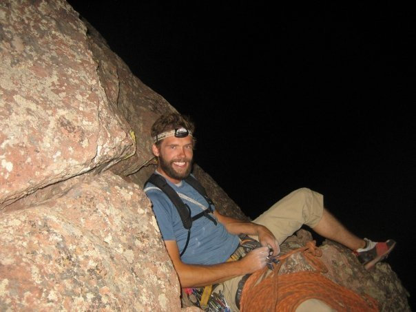 Joe on what we deemed a suitable belay ledge for our night climb of the first flatiron.