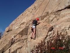 Rock Climbing Photo: Anna Hamilton top roping the climb